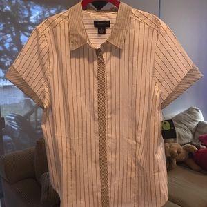 NWT - Liz Claiborne SS Button Down Striped Shirt